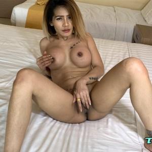 Busty boobjob Asian masturbating