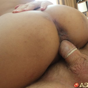 Horny Asian Pussy slides up and down white cock