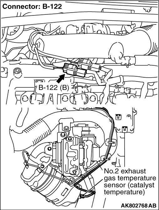Code No. P0428: No. 2 Exhaust Gas Temperature Sensor