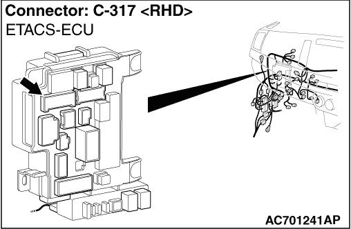 Code No. B1206 Passenger's air bag OFF indicator lamp
