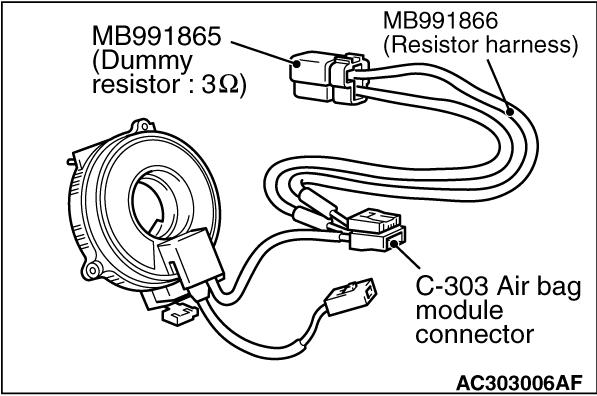 Code No.B1401: Driver's air bag module (squib) system