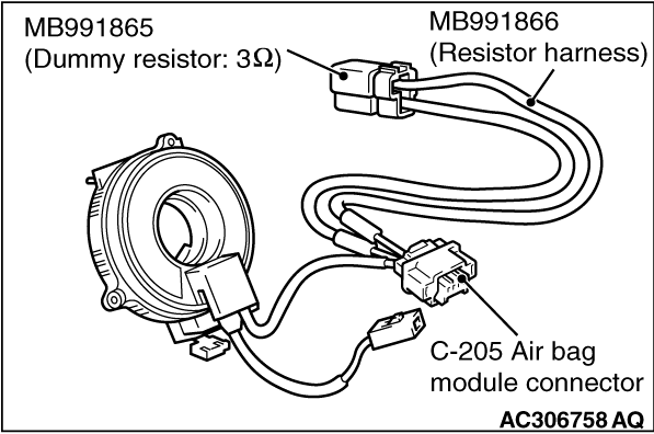CODE NO. B1B00 Driver's air bag module (1st squib) system