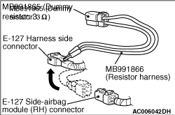 Code No.B1421: Side-airbag squib (RH) open-circuited