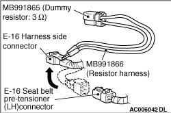 Code No.B1471: Seat belt pre-tensioner squib (LH) open