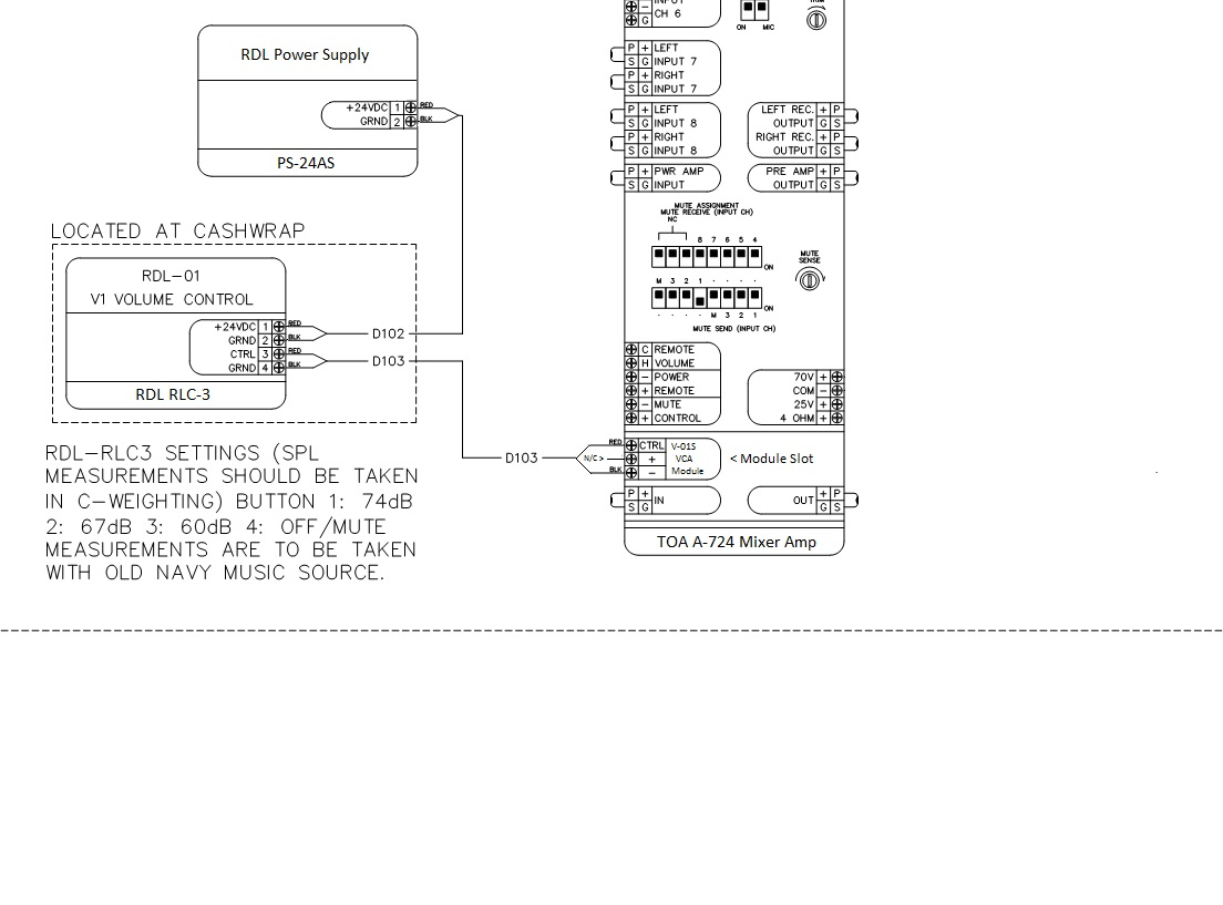 hight resolution of please use this wring diagram when using an rdl 3 volume control with a toa v 01s vca module it does require use of the rdl ps 24s 24v power supply