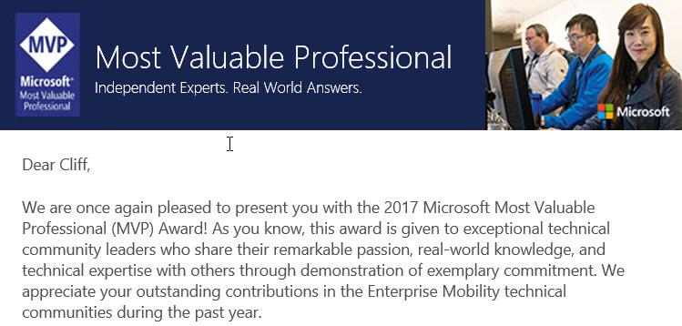 Congratulations 2017 Microsoft MVP!