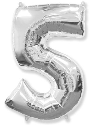 "Large foil balloon number ""5"""