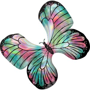 Holographic Teal&Pink Butterfly Balloon