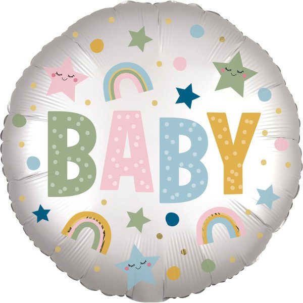👶 Satin Baby Colorful Round Foil Balloon | Faraday Helium Balloons in Geneva