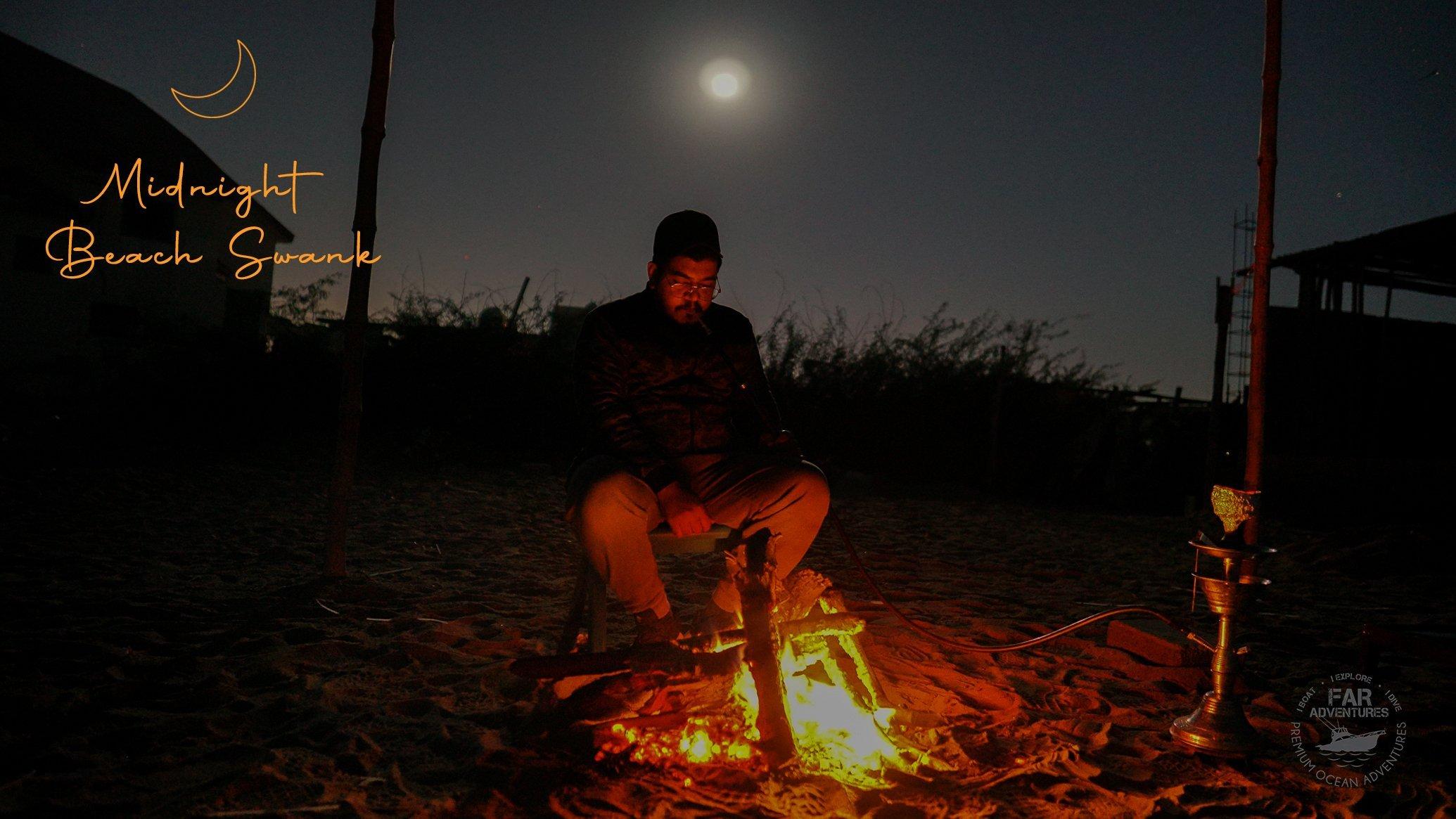 Mid Night Beach Swank - Moonlight - Bonfire - Tea - Chilling Winter Night