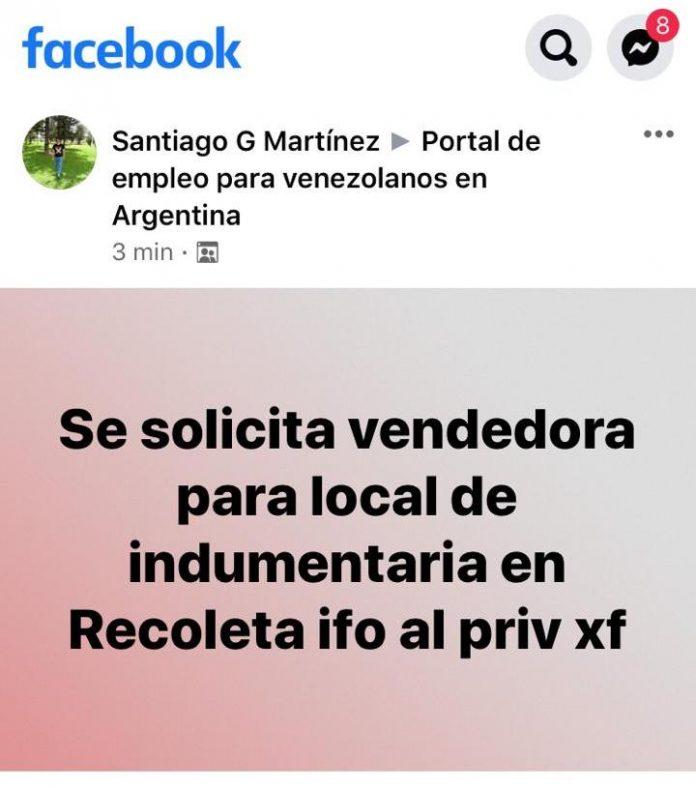 -venezolana violada en argentina- anuncio de facebook