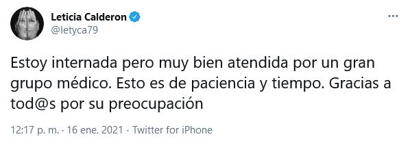 leticia calderón hospitalizada por covid 19