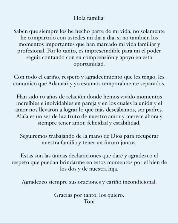 Adamari López y Toni Costa se separan