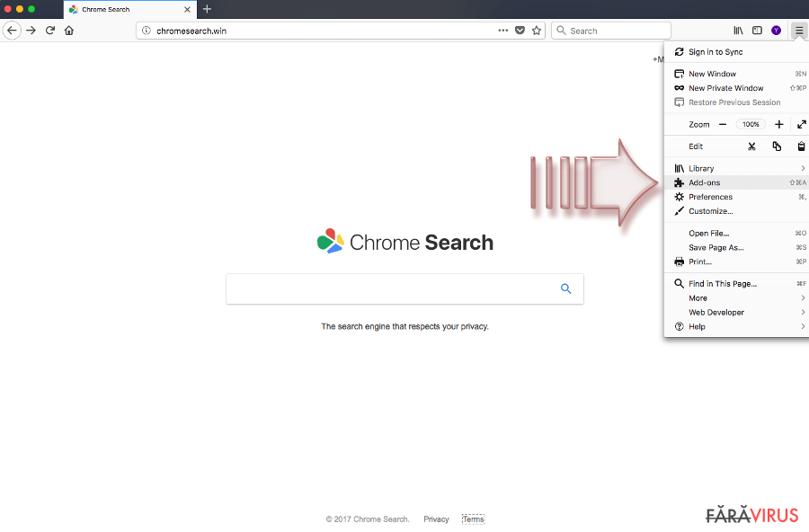 Elimină virusul Chromesearch.win (Ghid de înlăturare