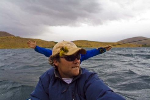 Our guide Benjamin, rowing against gale-force winds