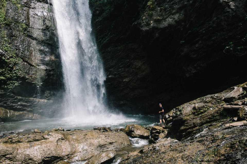 Robin in front of a waterfall near Lagodechi, Georgia