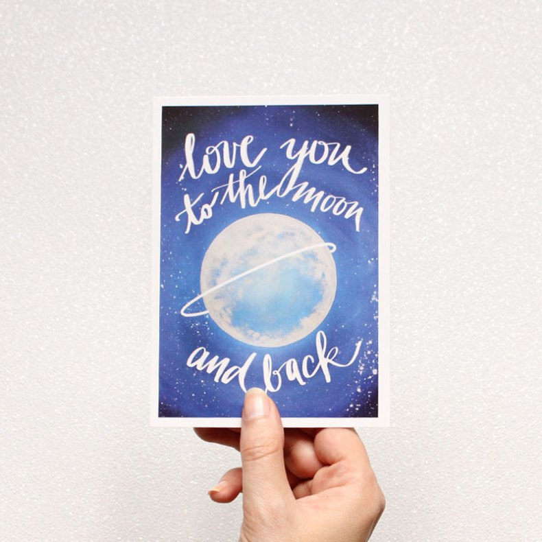 Postkarte love you to the moon and back Illustration Handmade