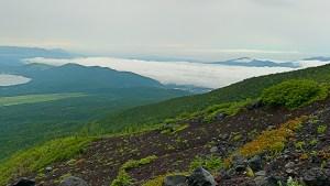 富士登山の途中からの景色