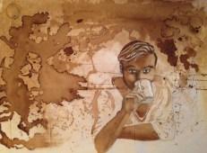 Lisa Lancing: Coffee stains - uställning på Farbror NIkos café & galleri