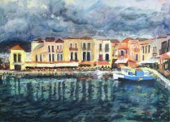 Rethymnon på Kreta av Bertil Jansson - utställning på Farbror Nikos restaurang, café, galleri & jazzklubb