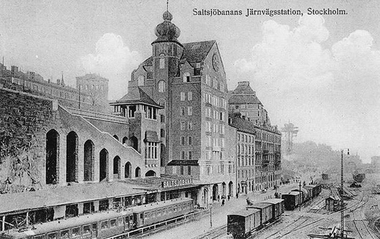 Historisk bild över Saltsjöbanans station nedanför Katarinavägen, 1914