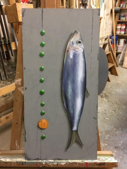 Fisch und Erbsen (und eine Karotte), Acryl auf Holz ca 35x40cm Fish and peas (and one carrot)