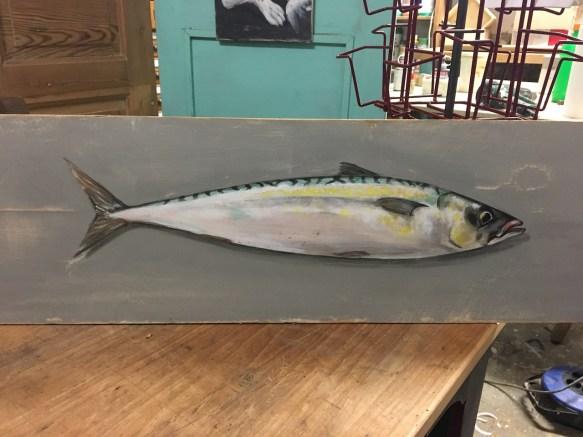 Makrele, Acryl auf Holz ca 35x18cm Mackerel