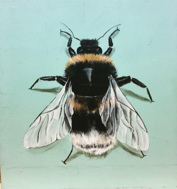 Hummel, Acryl auf Holz ca 30x30cm Bumblebee