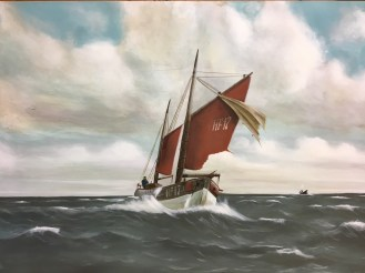 Finkenwerder Ewer, Acryl auf Holz ca 40x60cm typical northern fisher sailing ship