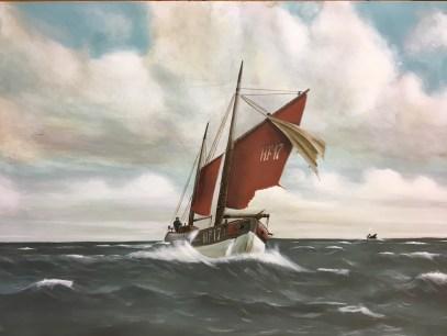 Finkenwerder Ewer, Acryl auf Holz ca 40x60cm typical northern fisher sailing ship