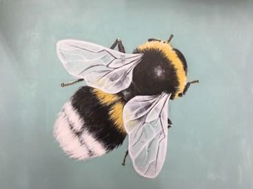 Hummel, Acryl auf Holz ca 25x35cm Bumblebee