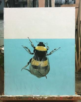 Hummel, Acryl auf Holz Bumblebee, Acrylic on wood