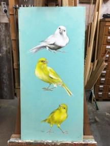 Sittiche, Acryl auf Holz ca 35x65cm Parakeets