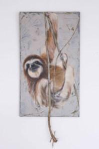 Faultier, Acryl auf Holz ca 40x70cn Photo: Daryl Collins