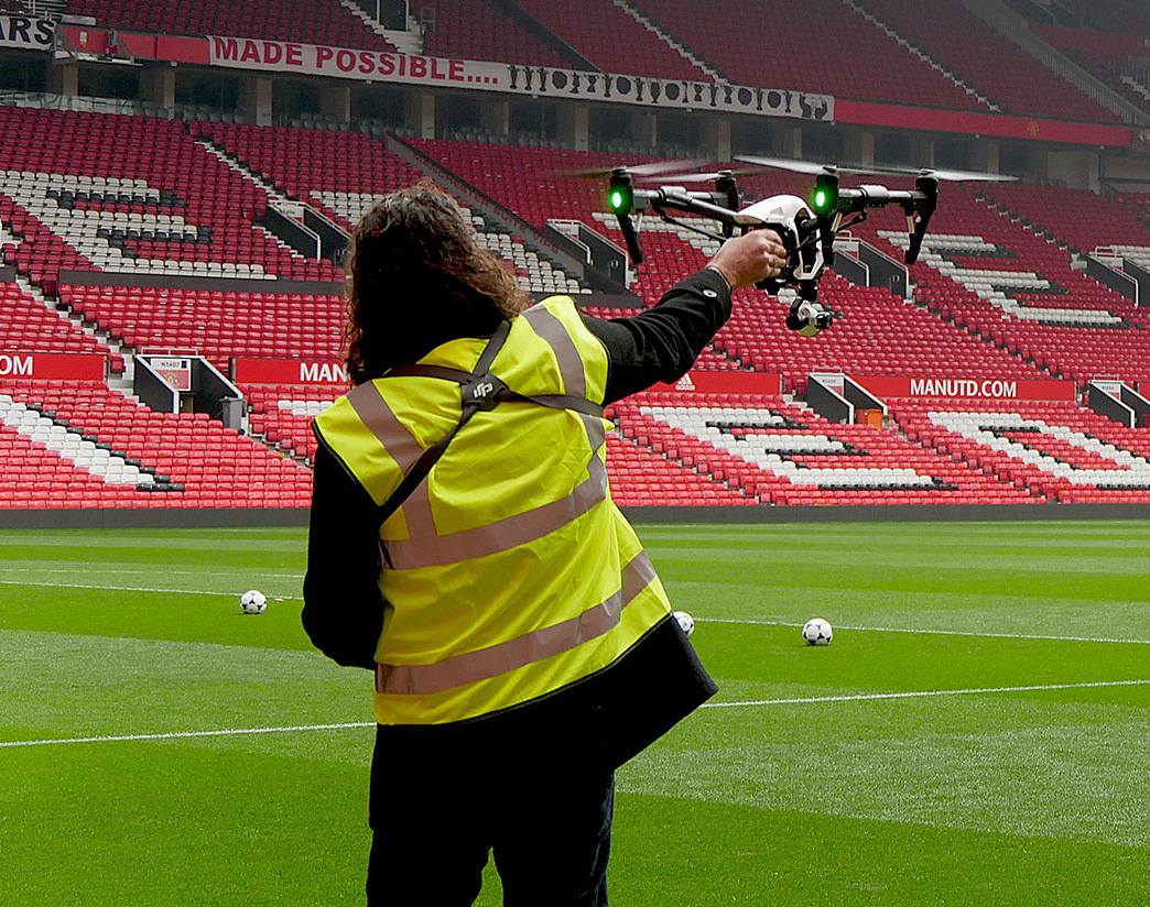 Drone flying at Old Trafford, one of the UK's largest football stadiums