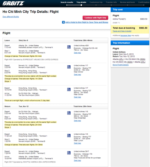 United – $984: Atlanta – Ho Chi Minh City. Vietnam. Roundtrip. including all Taxes – Fare Deal Alert