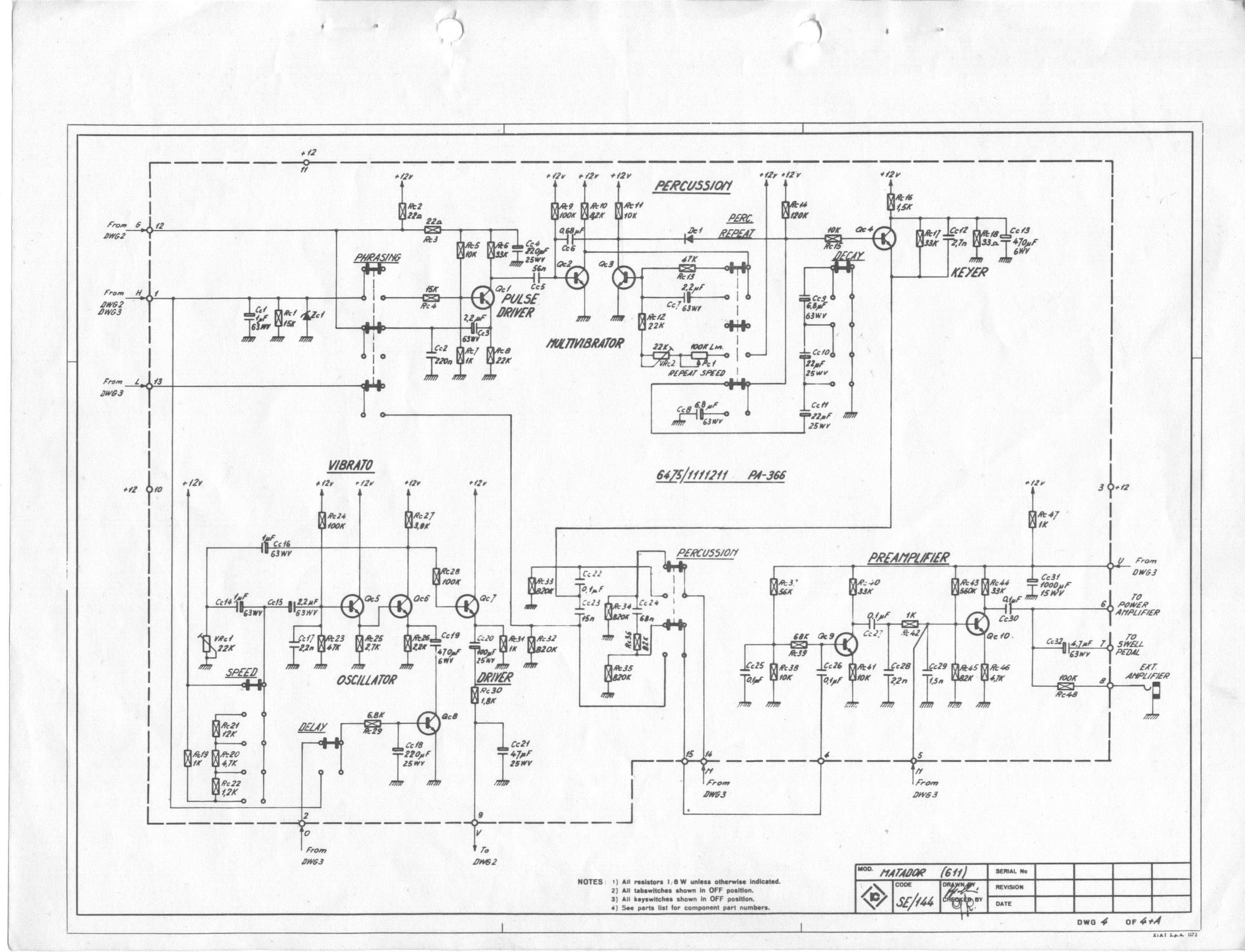 Farfisa Matador R Electronic Organ Schematic Diagrams