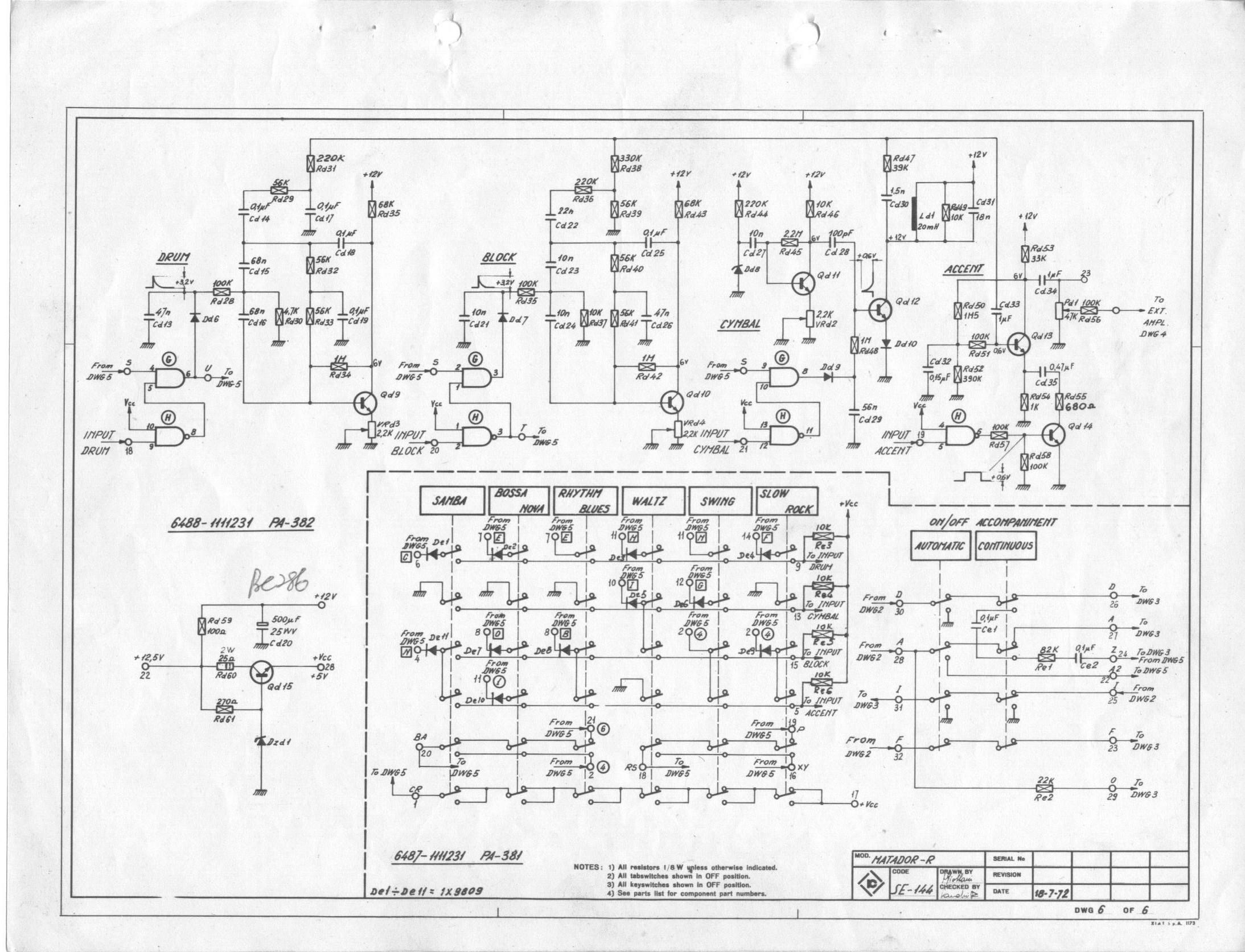 Farfisa Matador-R Electronic Organ Schematic Diagrams - Farfisa.org