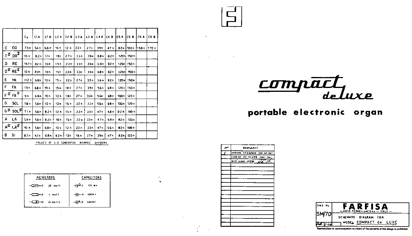 Farfisa cc/26 organ compact combo deluxe schematic owners