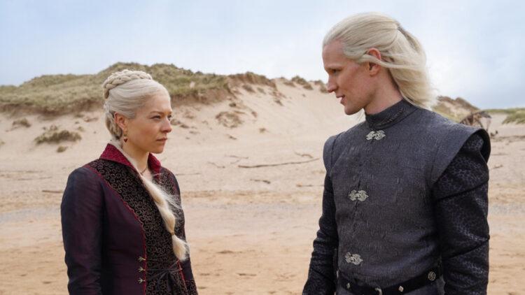Princess Rhaenyra Targaryen (Emma D'Arcy) and Prince Daemon Targaryen (Matt Smith). © HBO Max