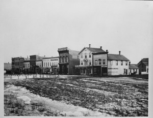 South side for Front Street looking east across N.P. Park and 7th Street, Fargo, N.D., Downtown, 1879
