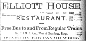 Ad for the Elliot House from the Fargo Forum 1893