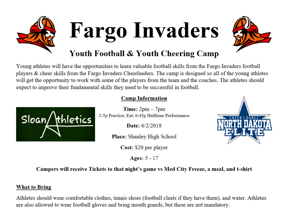 Fargo Invaders Youth Football & Cheer Camps