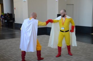 """One Punch Man meets One Punch Man (both from the anime named """"One Punch Man"""")."""