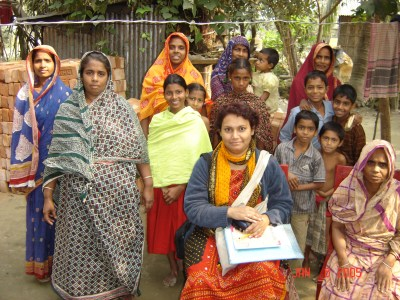 Field research group in a rural village, Jessore, Bangladesh