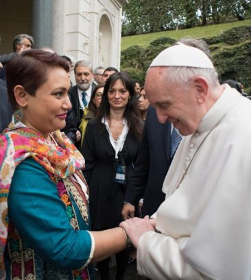 Dr. Farhana Sultana with His Holiness Pope Francis, at the Pontifical Academy of Sciences, The Vatican, 2017