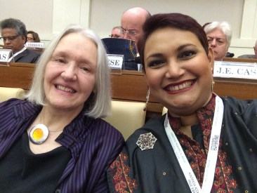 Dr. Farhana Sultana with Dr. Saskia Sassen, renowned philosopher, at The Vatican, 2017
