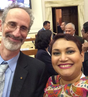 Dr. Farhana Sultana with Dr. Peter Gleick, renowned water scholar, at the Vatican in 2017