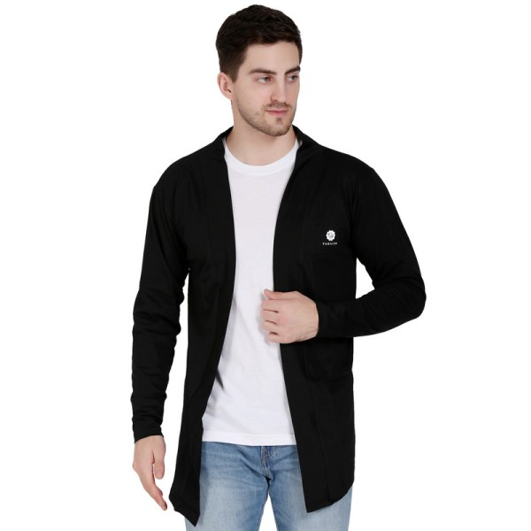 Men Flared Full Sleeve Black Shrug