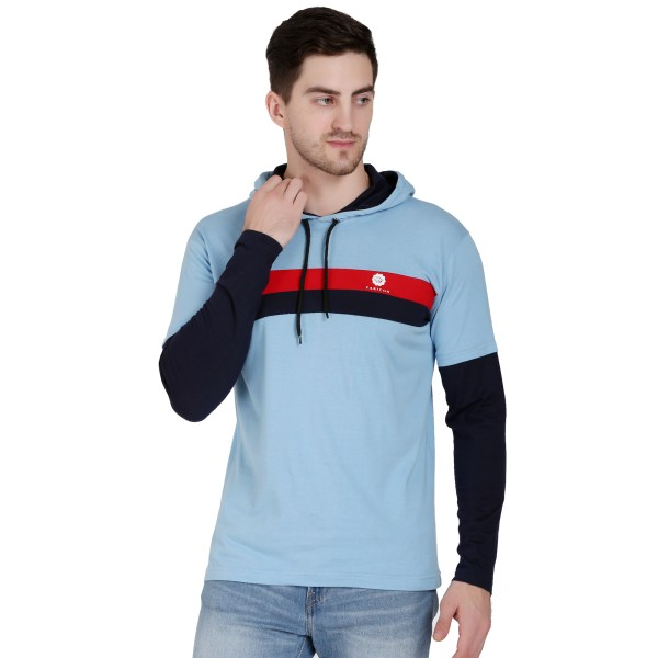 Solid Men Hooded Neck Light Blue T-Shirt